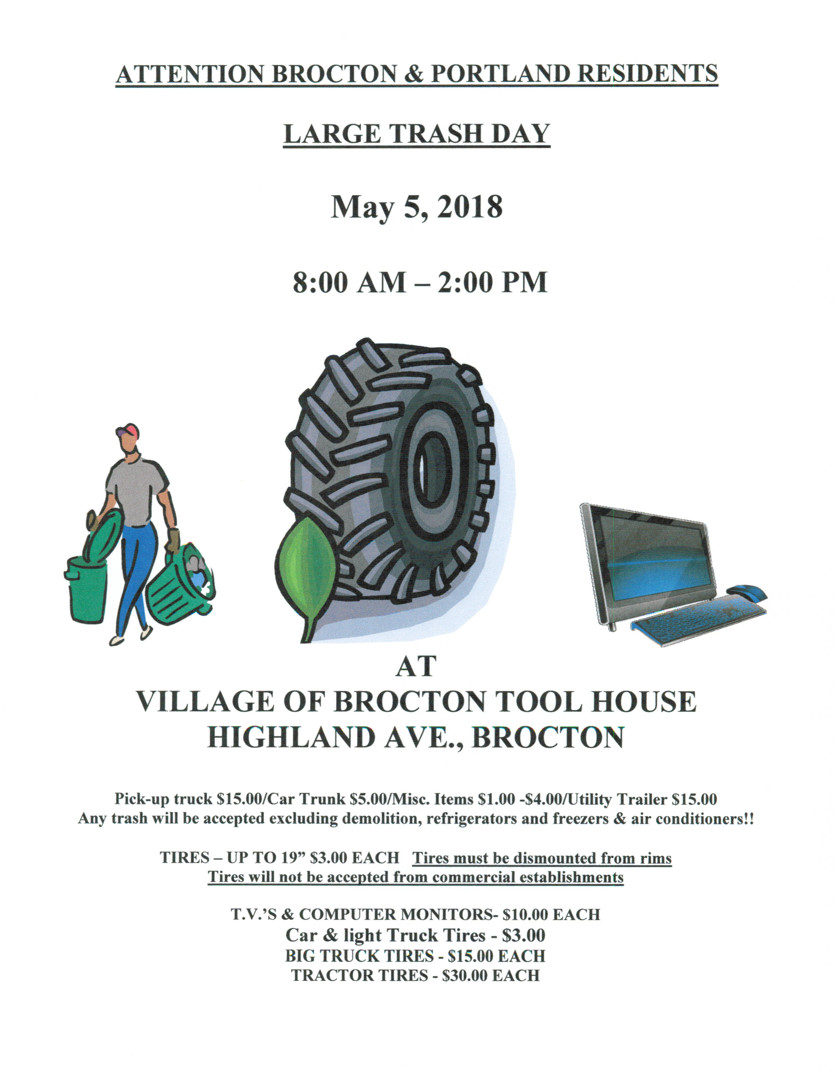 Large Trash Day May 5th 2018  8am - 2pm